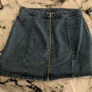 Denim Mini Zipper Skirt